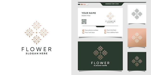 Цветочный шаблон дизайна логотипа с креативной концепцией и дизайном визитной карточки