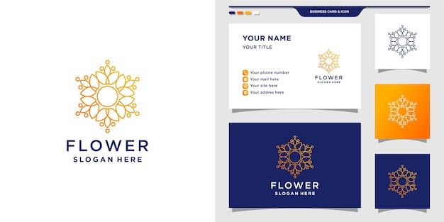 Flower logo design template with creative concept and business card