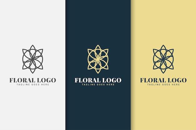 Цветочный шаблон дизайна логотипа с концепцией линии