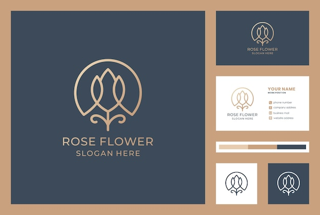 Flower logo design with business card template. cosmetics shop icon. beauty salon logo inspiration.