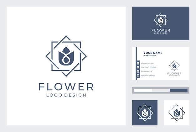 名刺テンプレートと花のロゴのデザイン。
