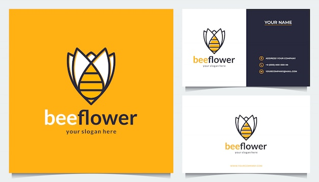 Flower logo design with a combination of bees and business cards