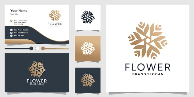 Flower logo design with creative abstract concept and business card design