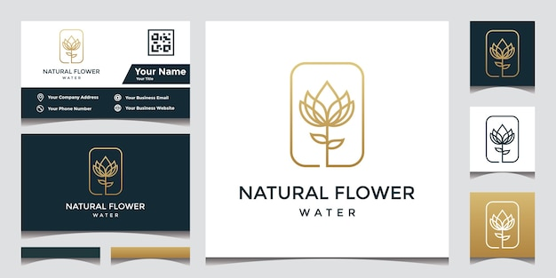 Flower logo design with elegant business card
