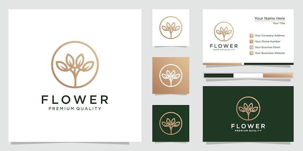 라인 아트 스타일과 명함으로 꽃 로고 디자인. 로고는 스파, 미용실, 장식, 부티크, 화장품에 사용할 수 있습니다. 프리미엄