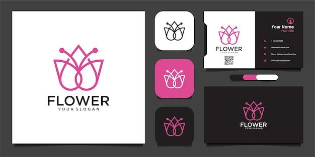 Цветочный дизайн логотипа со стилем линии искусства и визитной карточкой