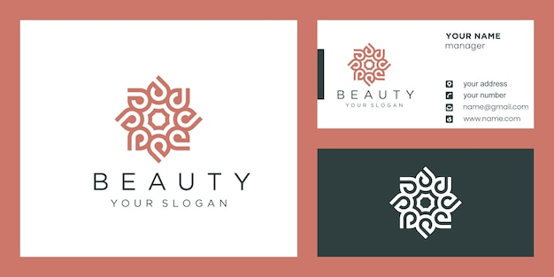 Flower logo design with line art style and business card