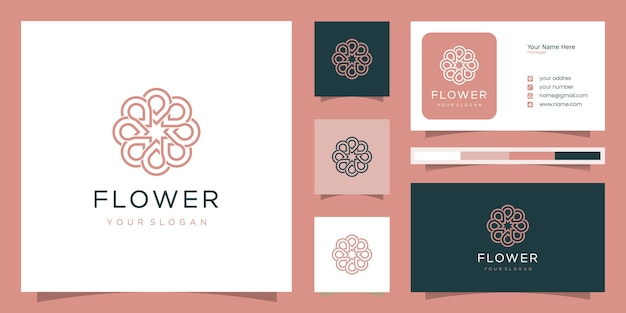 ラインアートスタイルの花のロゴデザイン。スパ、ビューティーサロン、デコレーション、ブティックに使用できます。
