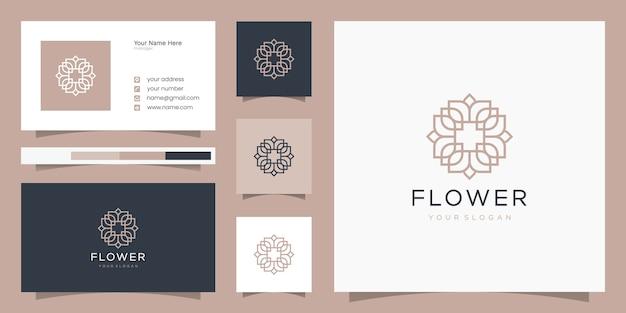 Цветочный дизайн логотипа в стиле арт-линии. логотип и шаблон визитной карточки