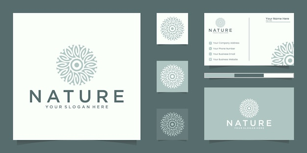 Flower logo design with line art style. logo and business card