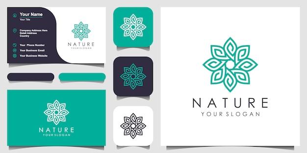 ラインアートスタイルで花のロゴデザイン。ロゴはスパ、ビューティーサロン、装飾、ブティックに使用できます。と名刺