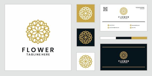 라인 아트 스타일의 꽃 로고 디자인. 로고는 스파, 미용실, 장식, 부티크에 사용할 수 있습니다. 및 명함