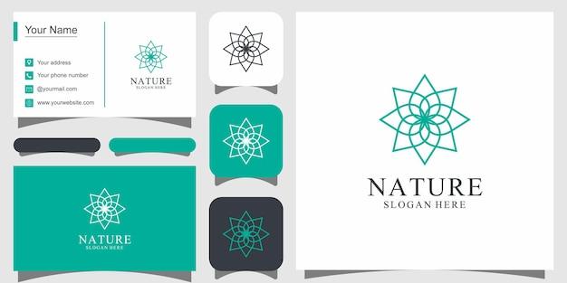ラインアートスタイルのロゴが付いた花のロゴデザインは、スパビューティーサロンの装飾ブティックや名刺に使用できます