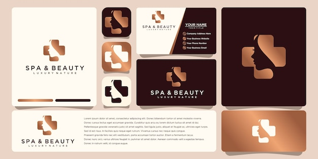 Flower logo design with line art style. logos can be used for spa beauty salon decoration boutique. and business card