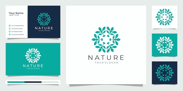 Flower logo design with line art style. logos can be used for spa, beauty salon, decoration, boutique. and business card.