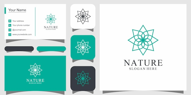 Flower logo design with line art style logos can be used for spa beauty salon decoration boutique and business card