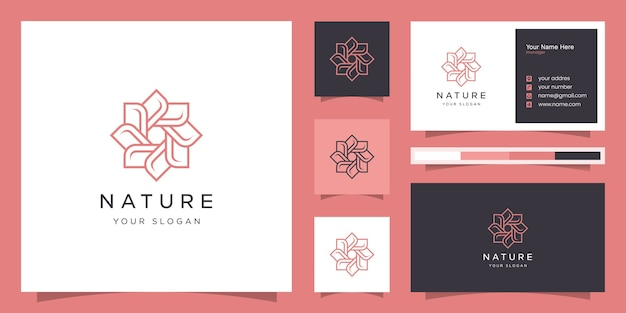 Flower logo design with line art style.logos can be used for spa,beauty salon, decoration, boutique.