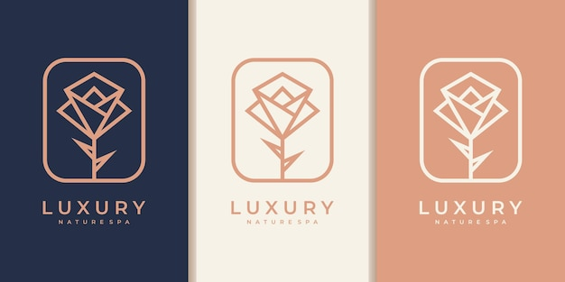 Flower logo design with line art style. logos can be used for spa, beauty salon