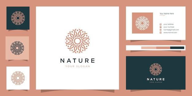 ラインアートスタイルの花のロゴデザイン。ロゴは、スパ、ビューティーサロン、装飾、