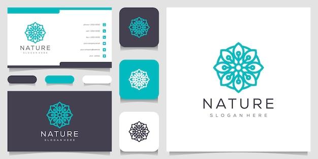 라인 아트 스타일의 꽃 로고 디자인.