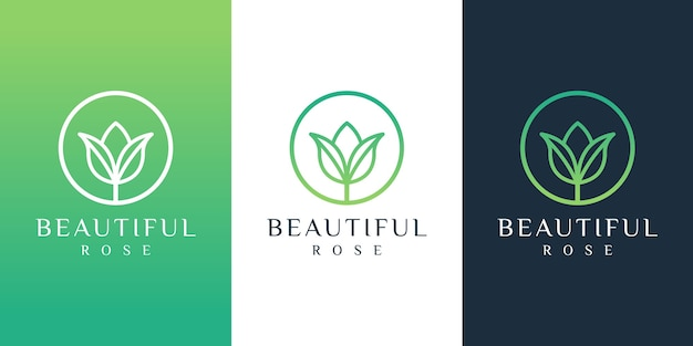 Flower logo design with line art style.
