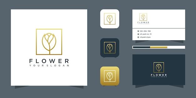 Цветочный дизайн логотипа в стиле арт-линии.