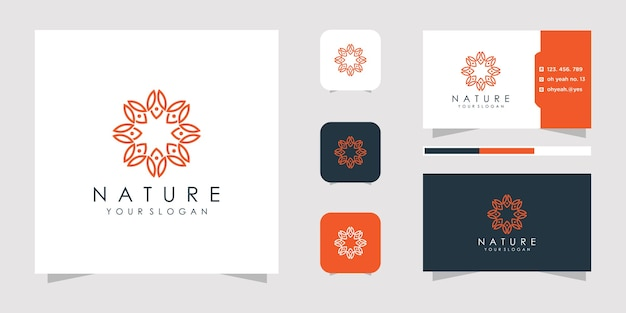 Flower logo design with line art style.