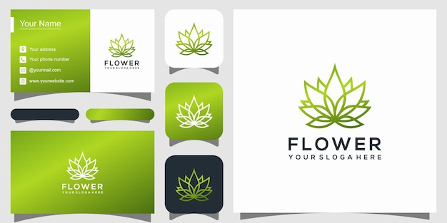 Flower logo design with line art style
