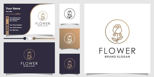 Цветочный дизайн логотипа в современном стиле и дизайн визитки premium векторы