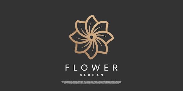 Цветочный дизайн логотипа в уникальном стиле premium векторы