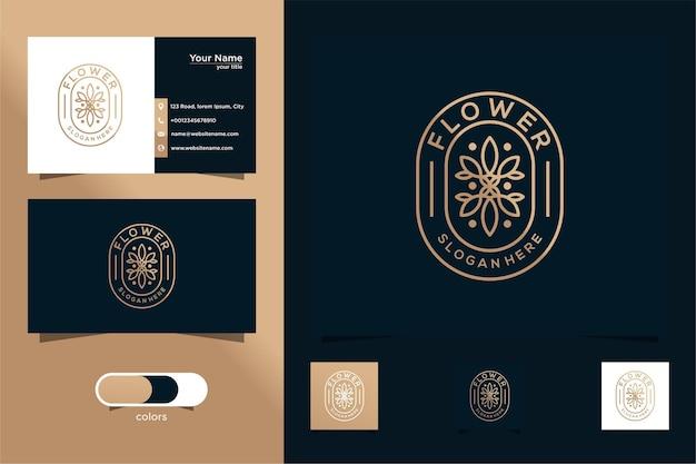 빈티지 라인 스타일의 꽃 로고 디자인