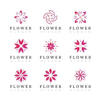 Цветочный логотип. цветочный значок. цветочная эмблема. косметика, спа, гостиница, салон красоты, украшение, бутик логотип.