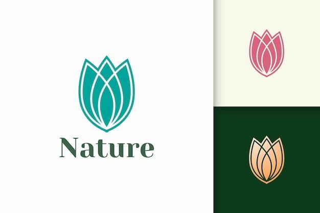 健康と美容のための抽象的な豪華なスタイルの花のロゴ