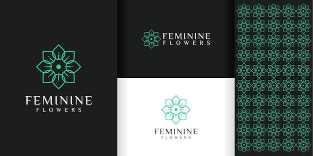 Flower logo and pattern template