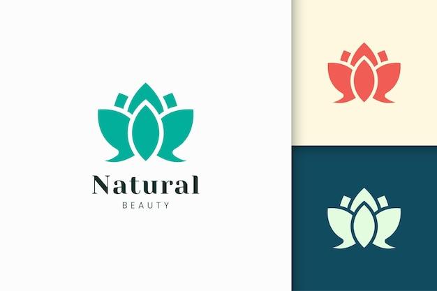 꽃 로고는 단순한 추상 모양의 건강 및 미용 로고를 나타냅니다.