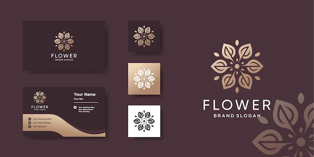 名刺デザインの花のロゴのテンプレート プレミアムベクター