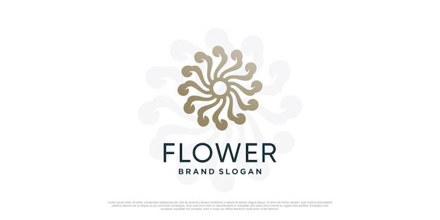 Цветочный шаблон логотипа с креативной уникальной концепцией premium vector часть 1