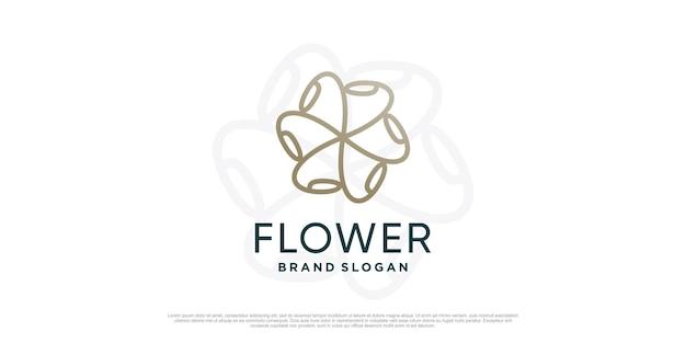 Цветочный шаблон логотипа с креативной уникальной концепцией premium vector часть 2