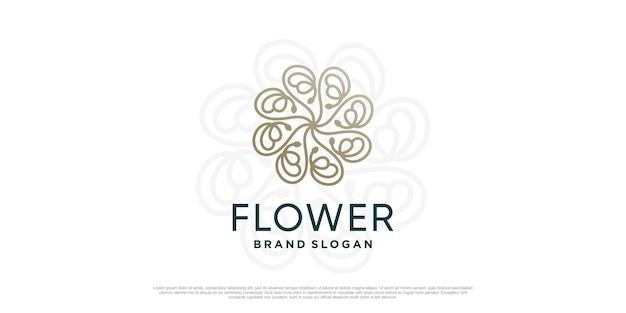 Цветочный шаблон логотипа с креативной уникальной концепцией premium vector часть 3
