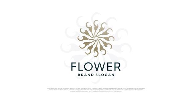 Цветочный шаблон логотипа с креативной уникальной концепцией premium vector часть 4