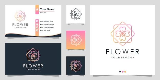 Цветочный шаблон логотипа с современным уникальным стилем и дизайном визитной карточки premium векторы