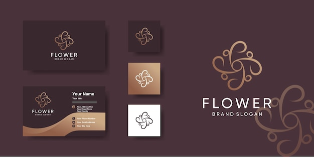 Flower logo template with unique style and business card design premium vector