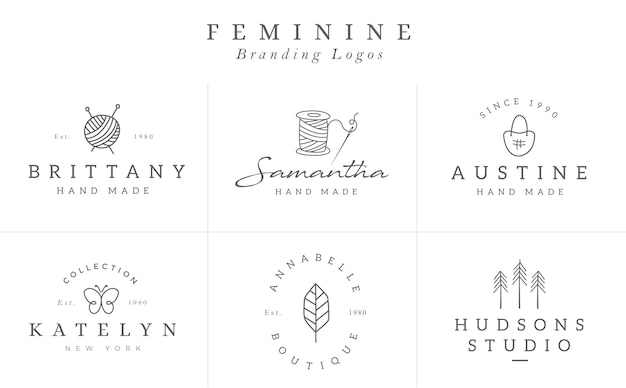Flower logo templates collection in vector. hand drawn floral logotypes for a small business branding