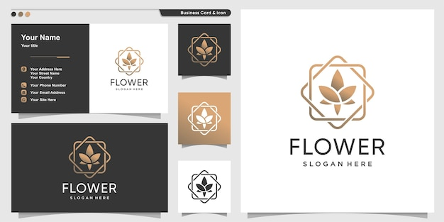 Flower logo with beauty line art style and business card design