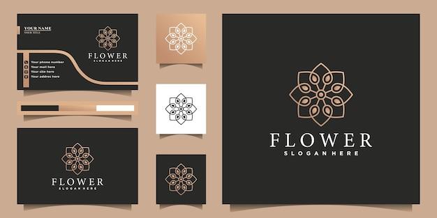 Цветочный логотип с креативной концепцией линейного искусства и дизайном визитной карточки