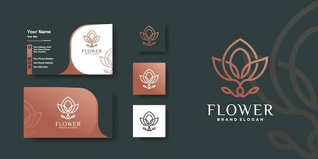 創造的なラインアートと花のロゴ