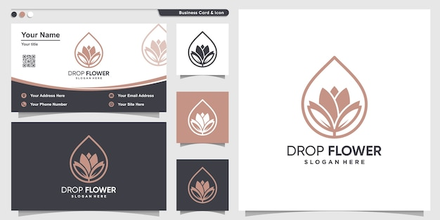 Flower logo with drop line art style and business card design template