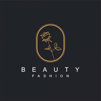 Flower logo with gold for beauty or spa products and other needs