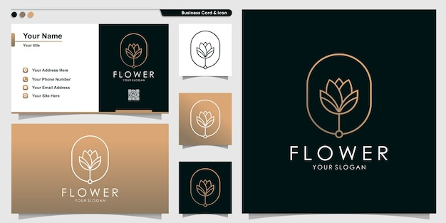 Flower logo with golden gradient style and business card design template