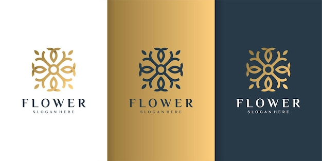 Flower logo with golden luxury concept